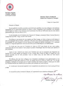 Lettre de Matthieu SEGUELA à Thierry MARIANI